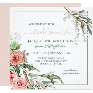 Bridal Shower Modern Floral Eucalyptus Watercolor Invitations