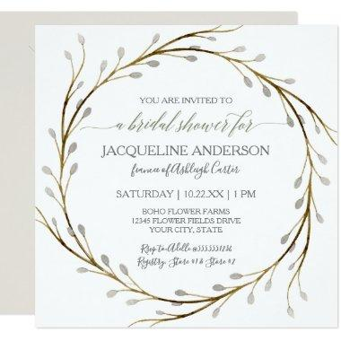Bridal Shower Modern Pussy Willow Twig Wreath Invitations