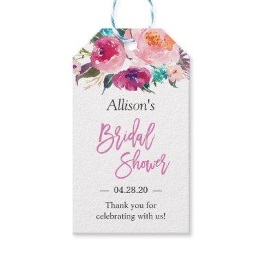 Bridal Shower Modern Watercolor Floral Thank You Gift Tags