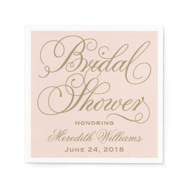 Bridal Shower Napkins | Blush Pink  Antique Gold