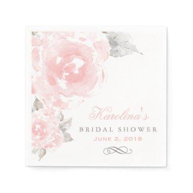 Bridal Shower Napkins | Pink Watercolor Roses