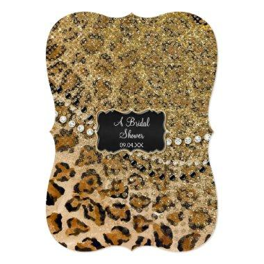 Bridal Shower Natural Gold Leopard Animal Print Invitations