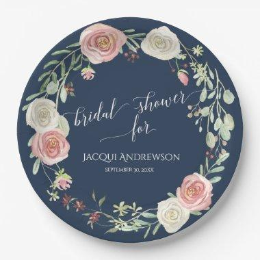 Bridal Shower Navy Blush Ivory Roses Wreath Paper Plate