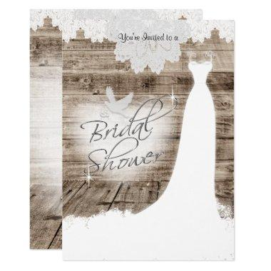 Bridal Shower on Barn Wood with Lace & White Dove Invitations