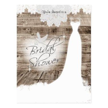 on Barn Wood with Lace & White Dove Post