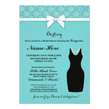 Party Blue Black Dress Pearls Invite