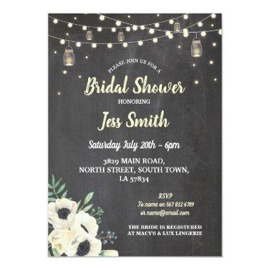Bridal Shower Party Rustic Chalk Fireflies Invite