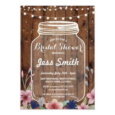 Bridal Shower Party Rustic Jar Wood Floral Invite