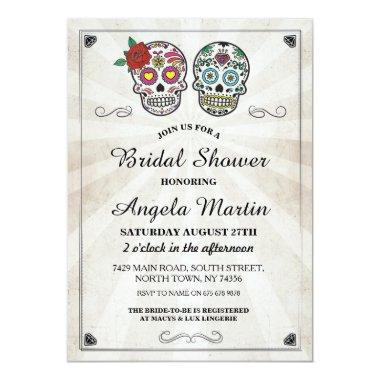 Party Sugar Skull Cream Invite