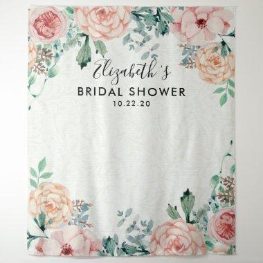 Bridal Shower Photo Backdrop Watercolor Flowers