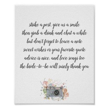 Bridal shower photo booth guest book poster