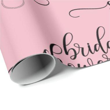 BRIDAL SHOWER pink black RING script calligraphy Wrapping Paper