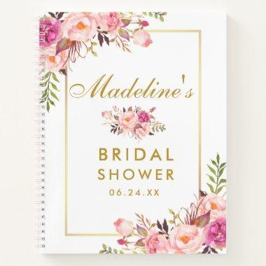 Pink Blush Floral Gold Gift List Notebook