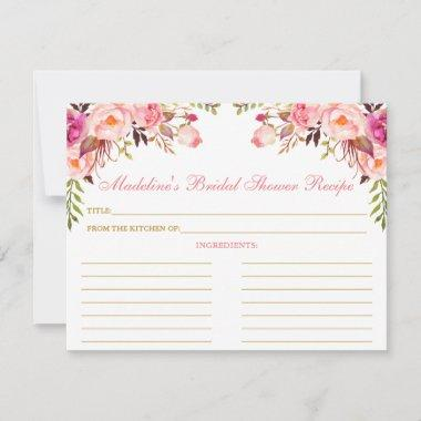 Bridal Shower Pink Blush Floral Gold Recipe Invitations