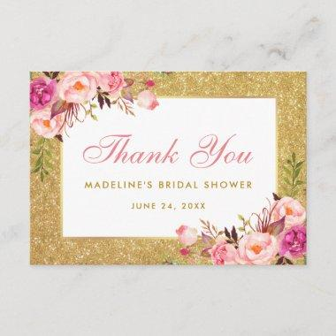 Bridal Shower Pink Floral Gold Glitter Thank You