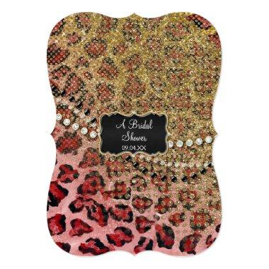 Bridal Shower Pink Gold Leopard Animal Print Invitations