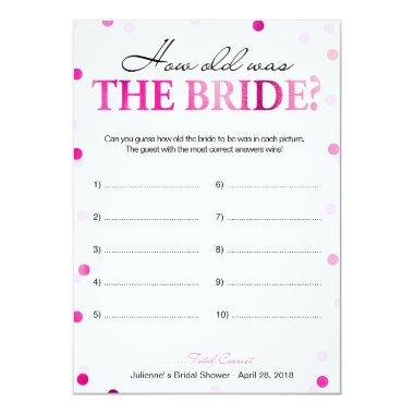 Pink How Old Was the Bride Game