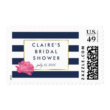 Bridal Shower Postage Stamps | Navy Stripe & Peony
