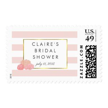 Bridal Shower Postage Stamps | Pink Stripe & Peony