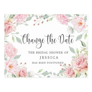 Bridal Shower Postponed Date Elegant Blush Roses PostInvitations