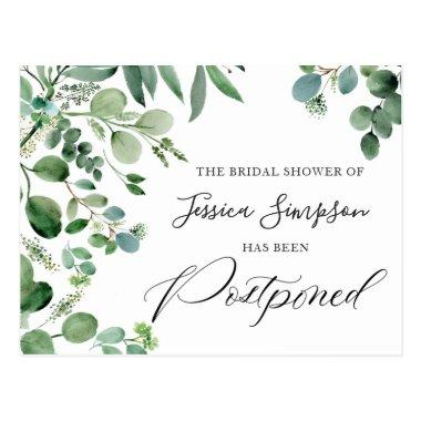 Bridal Shower Postponed Date Elegant Eucalyptus PostInvitations