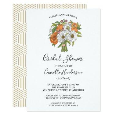 Bridal Shower Pretty Daisy Rose Flower Bouquet Invitations