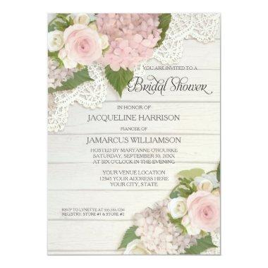 Bridal Shower Pretty Flower Vintage Lace Hydrangea Invitations