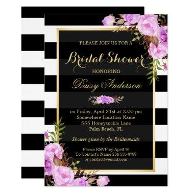 Bridal Shower Purple Floral Gold Frame Stripes Invitations