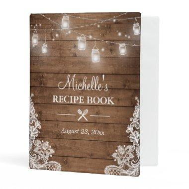 Recipe Book | Mason Jar Lights Lace Mini Binder