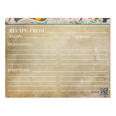 Bridal Shower Recipe Invitations- Rustic Floral PostInvitations