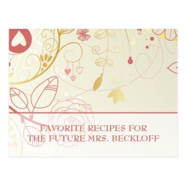 Bridal Shower Recipe Invitations- Vintage Floral PostInvitations