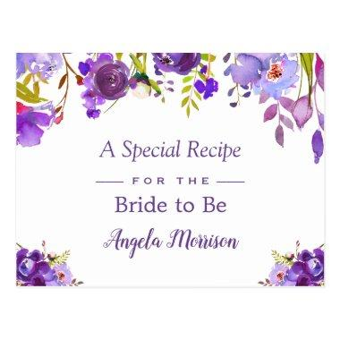 Bridal Shower Recipe Purple Violet Flowers PostInvitations
