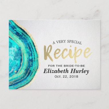 Recipe Teal & Gold Agate Geode Slice Invitation Post