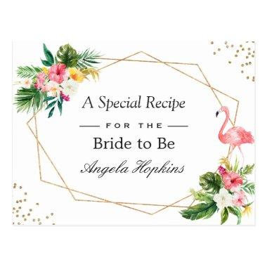 a87ef4bb6a1a1b Bridal Shower Recipe Tropical Flamingo Luau Floral PostInvitations