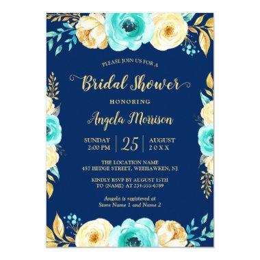 Bridal Shower Romantic Navy Blue Teal Gold Floral Invitations