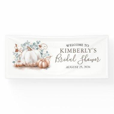 Bridal Shower Rose Gold and White Pumpkins Fall Banner