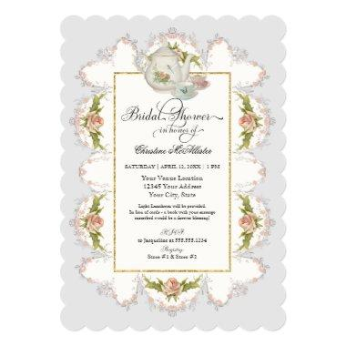 Bridal Shower Roses Tea Party Teapot n Teacups Invitations