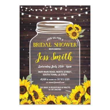 Bridal Shower Rustic Jar Wood Sunflower Fireflies Invitations