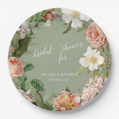 Bridal Shower Sage Blush Ivory Peony Rose Wreath Paper Plate
