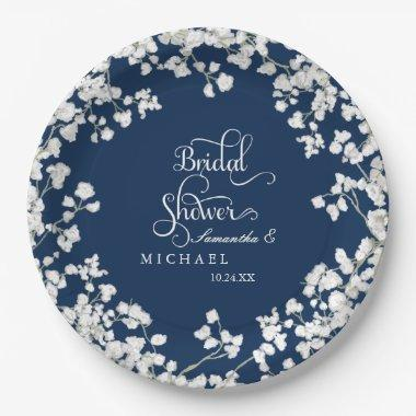Script Baby's Breath Rustic Country Paper Plate