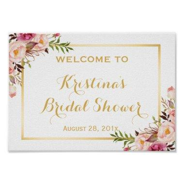 Sign Elegant Chic Floral Gold Frame