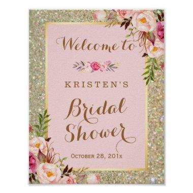 Sign Gold Glitter Blush Pink Floral