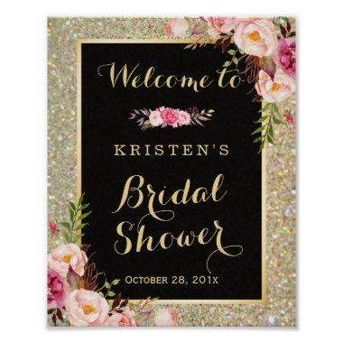 Bridal Shower Sign Gold Glitter Sparkles Floral
