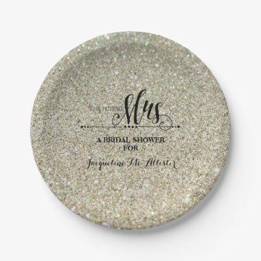 Silver Glitter Future Mrs. Party Paper Plate