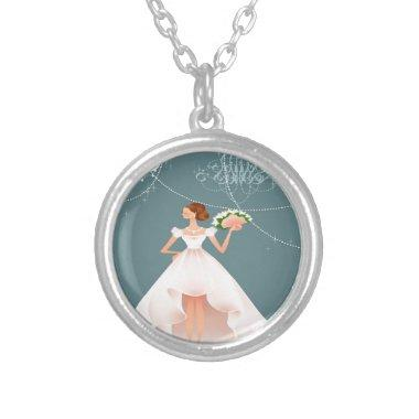 Bridal Shower Silver Plated Necklace