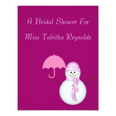 Bridal Shower - Snowwoman w/ Umbrella Invitations