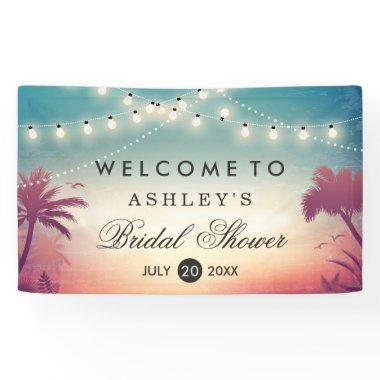 Summer String Lights Palm Trees Banner