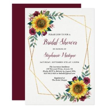Bridal Shower Sunflowers Geometric Floral Invitations