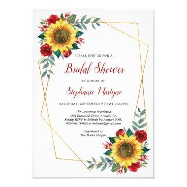 Bridal Shower Sunflowers Geometric Floral Red Invitations