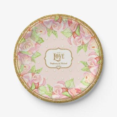 Table Decor Watercolor Rose Bouquet Paper Plate